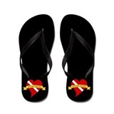 Love Scuba Heart Flag Flip Flops