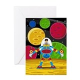 Astronaut &amp;amp; Mecha Robot Greeting Card
