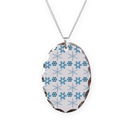 blue snowflakes.png Necklace Oval Charm