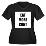 Eat More Women's Plus Size V-Neck Dark T-Shirt