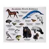 Alabama State Animals Throw Blanket