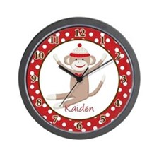 Sock Monkey Clock Wall Clock - Kaiden