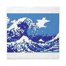 Pixel Tsunami Blue Queen Duvet