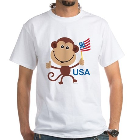 USA Monkey: White T-Shirt