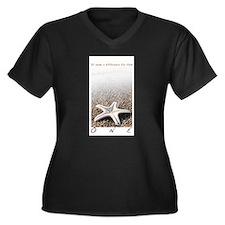 Unique Glory Women's Plus Size V-Neck Dark T-Shirt