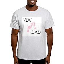 New Dad PINK Ash Grey T-Shirt