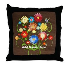Personalized floral Throw Pillow