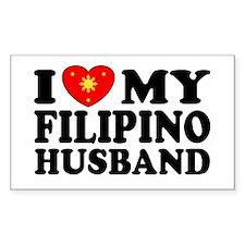 I Love my Filipino Husband Rectangle Decal