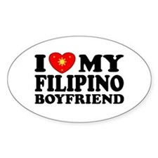 I Love my Filipino Boyfriend Oval Decal