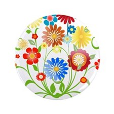 "Floral bright pattern 3.5"" Button"