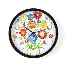Floral bright pattern Wall Clock