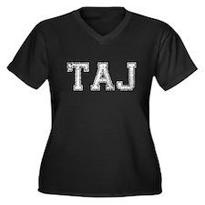 TAJ, Vintage, Women's Plus Size V-Neck Dark T-Shir