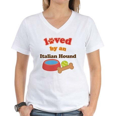 Italian Hound Dog Gift Women's V-Neck T-Shirt