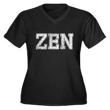 ZEN, Vintage, Women's Plus Size V-Neck Dark T-Shir