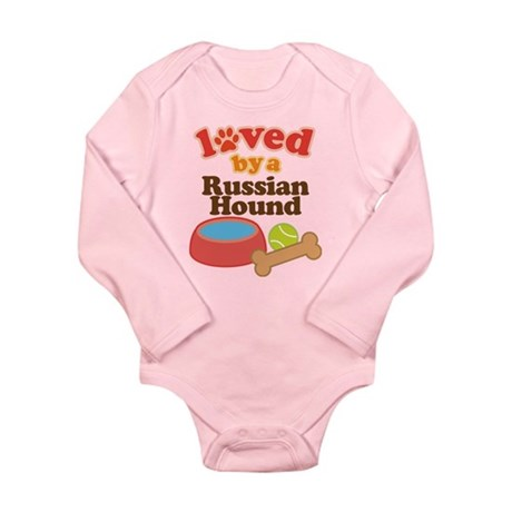 Russian Hound Dog Gift Long Sleeve Infant Bodysuit