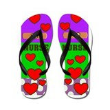 ff NURSE GREEN PURPLE.PNG Flip Flops