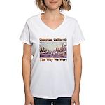 compton copy.jpg Women's V-Neck T-Shirt