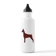 Red Doberman Silhouette Water Bottle