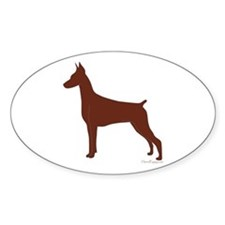Red Doberman Silhouette Decal