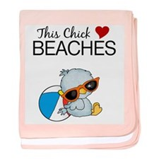 This Chick Loves Beaches Baby Blanket