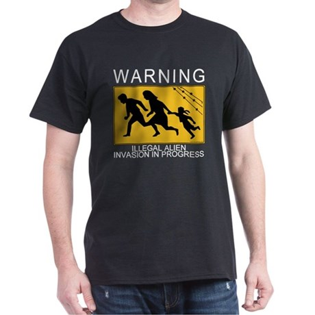 Illegal Invasion Warning Black T-Shirt