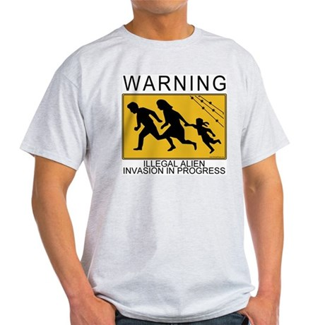 Illegal Invasion Warning Ash Grey T-Shirt