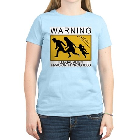 Illegal Invasion Warning Women's Pink T-Shirt