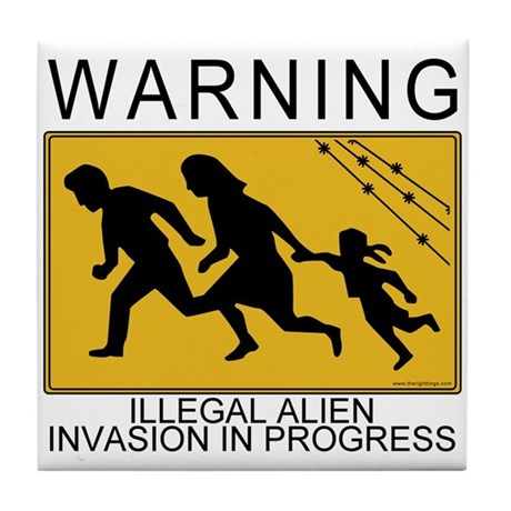 Illegal Invasion Warning Tile Coaster