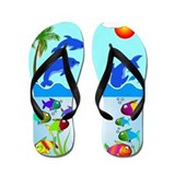 Dolphins and Fish Flip Flops