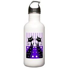 Whimsical Black Cats Water Bottle