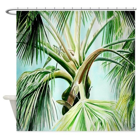 Palm Tree Watercolor Shower Curtain By Smilingbuddha