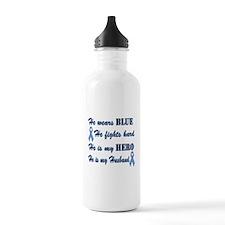He is Husband Lt Blue Hero.png Sports Water Bottle