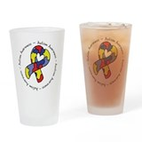 Autism Heart Ribbon Drinking Glass