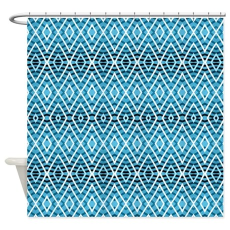 Blue Pattern Shower Curtain By Ornaartzi