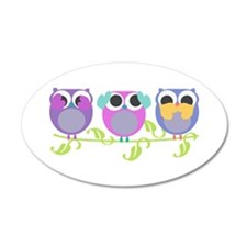 see hear speak no evil owls 38.5 x 24.5 Oval Wall