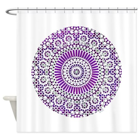 Purple crown seventh chakra mosaic circle shower c by opt for Purple mosaic bathroom accessories