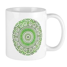 green heart fourth chakra mosaic circle Mug