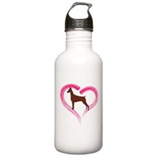 Heart My Red Doberman Water Bottle