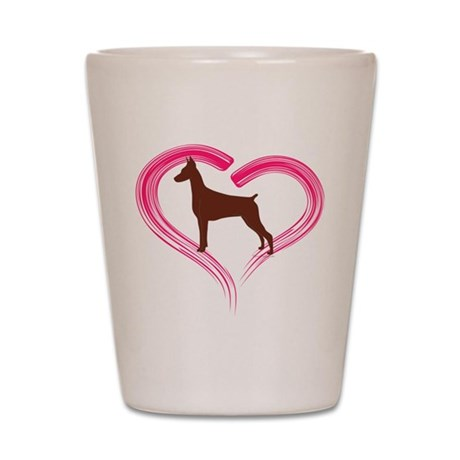 Heart My Red Doberman Shot Glass