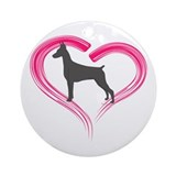 Heart My Blue Doberman Ornament (Round)