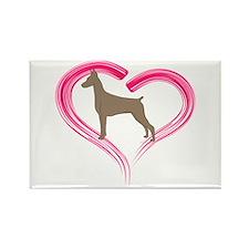 Heart My Fawn Doberman Rectangle Magnet