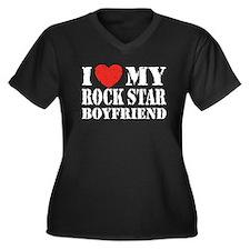 Rock Star Boyfriend Women's Plus Size V-Neck Dark
