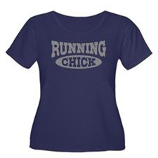 Running Chick Women's Plus Size Scoop Neck Dark T-