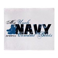 Uncle Combat Boots - NAVY Throw Blanket