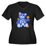 Blue Teddies w/Flowers Women's Plus Size V-Neck Da