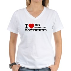 I love My Decathlon Boyfriend Women's V-Neck T-Shi