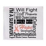 Uterine Cancer Persevere Throw Blanket