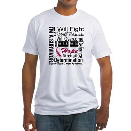 Throat Cancer Persevere Fitted T-Shirt