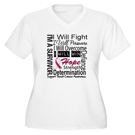 Throat Cancer Persevere Women's Plus Size V-Neck T