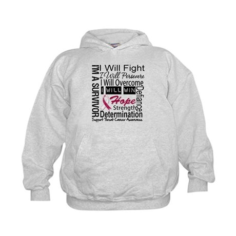 Throat Cancer Persevere Kids Hoodie